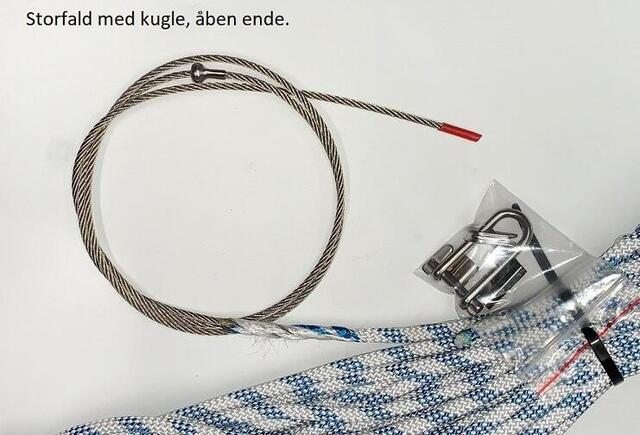 Halyard with hook. Wire with open end.