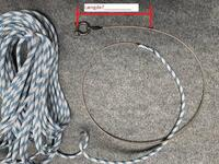 Halyard with hook, 3mm wire, 6mm rope.